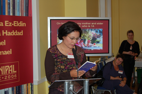 Mansoura reading at the reception party