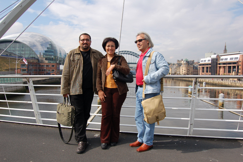 Authors on the millennium bridge in Newcastle