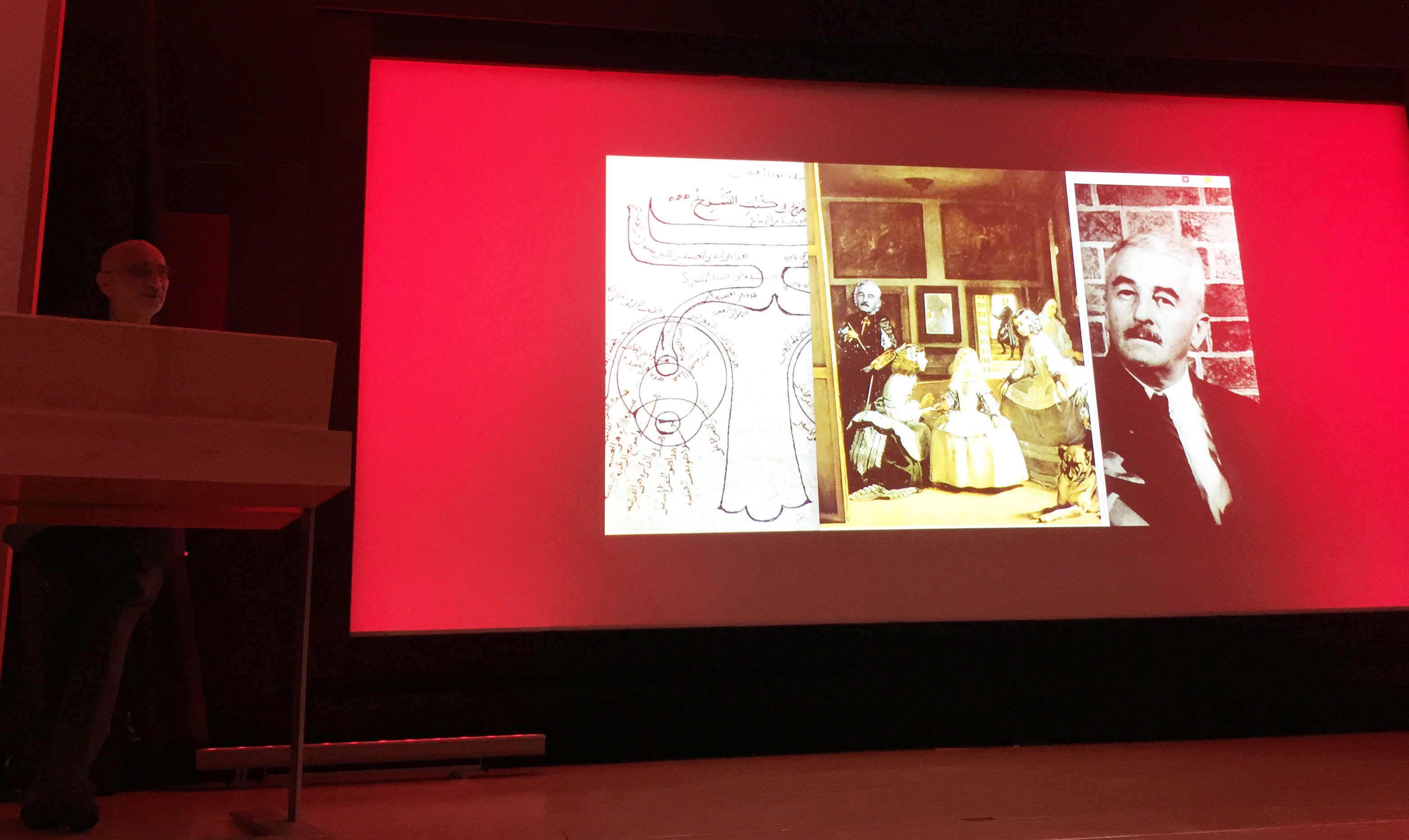 Last screen of the Lecture Ibn al-Haytham, Las Meninas and William Faulkner