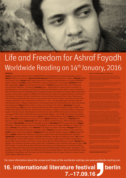 Poster for Worldwide Reading for Life and Freedom of Ashraf